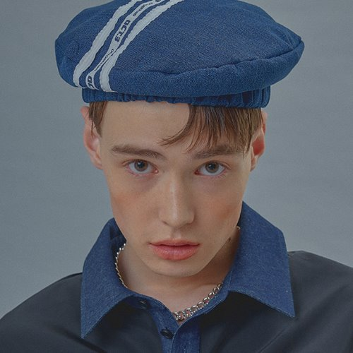 Logo Three-Line Denim Beret [Blue]