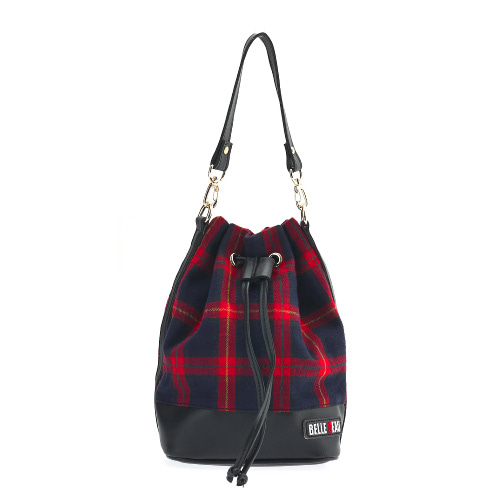 벨보(BELLEBEAU)- CHECK STRAP BAG RED