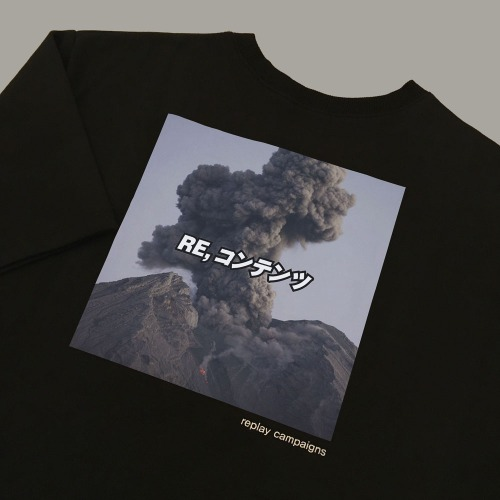 new black replay campaign 1/2 tee (chacoal)