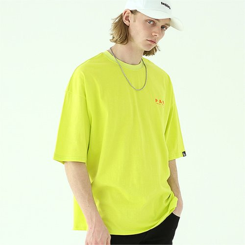 Over fit paris graphic T-shirt-tai141ss-neon