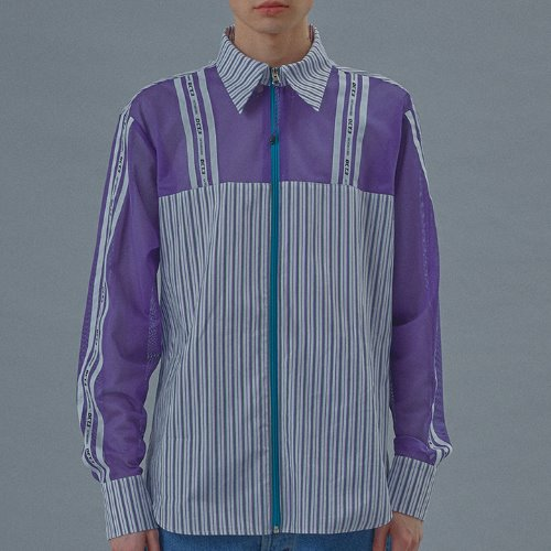 Logo Color Stripe Zipper Shirt [Violet]
