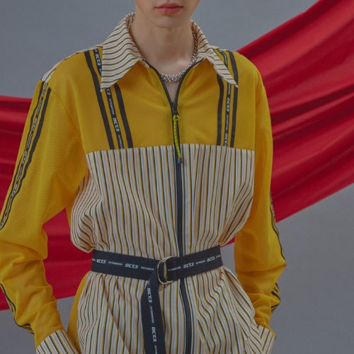 Logo Color Stripe Zipper Shirt [Yellow]