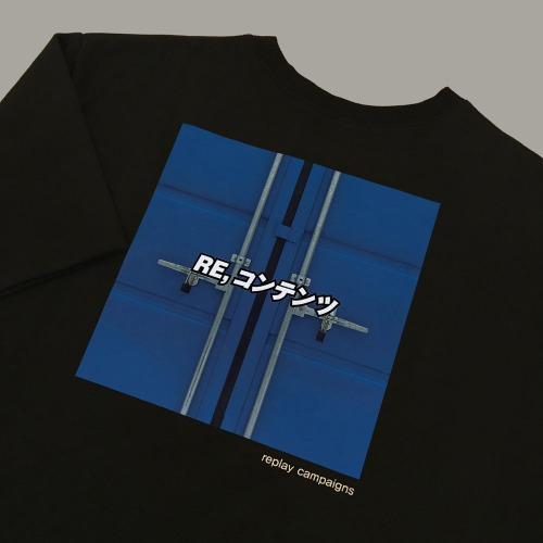 new black replay campaign 1/2 tee (cobalt blue)