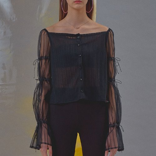Knit Lace Ribbon Blouse [Black]