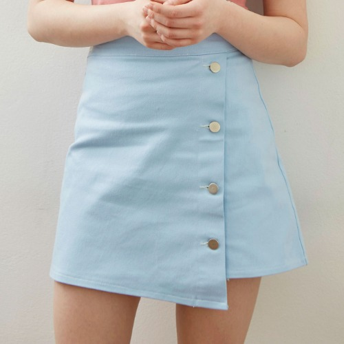 UNBALANCE DENIM SKIRT (sky blue)