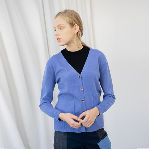 Button Knit Cardigan - BLUE