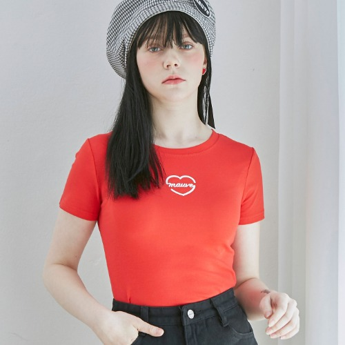 HEART LOGO CROP TEE (red)