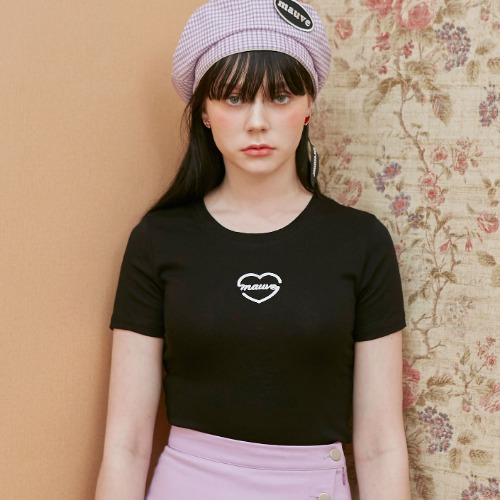 HEART LOGO CROP TEE (black)