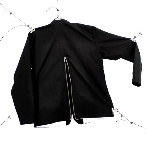 BACK ZIPPER SETUP JACKET - BLACK