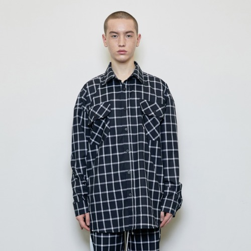 Oversized Check Shirt Black