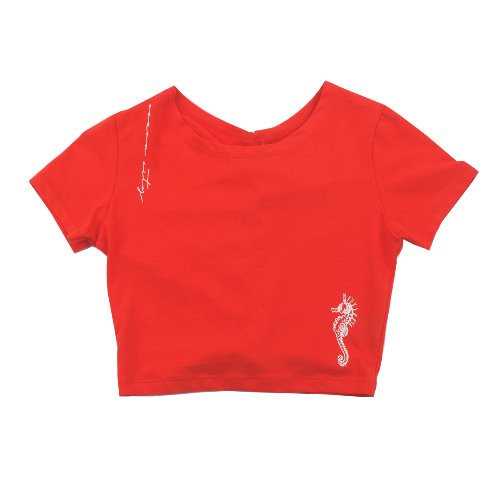 UGLYSHADOW_SEA HORSE LACE HALF TOP(RED)