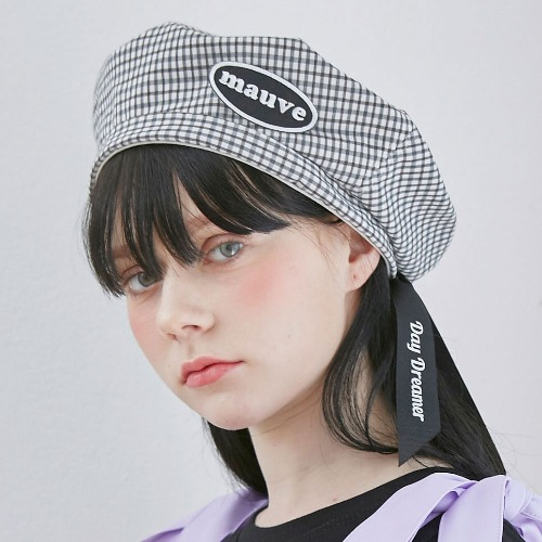 CHECK RIBBON BERET (black)