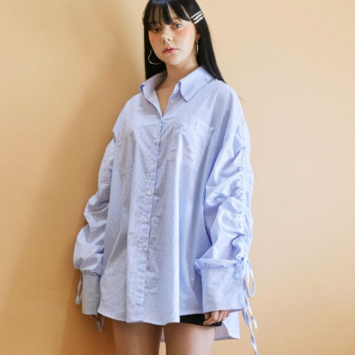 OVERSIZE SHIRRING STRIPE SHIRTS (blue)