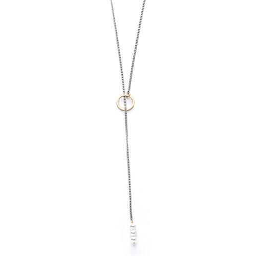 usual drop pearl long necklace