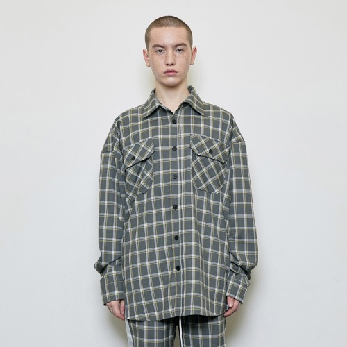 Oversized Check Shirt Grey