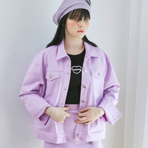 COLOR DENIM JACKET (purple)