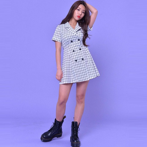 DOUBLE CHECK MINI DRESS(2color)