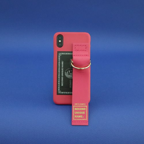 SUN CASE LEATHER CARD CORAL PINK