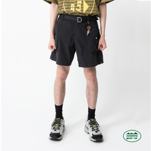 MULTI POCKET BANDING SHORTS (BLACK)