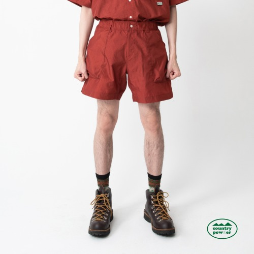 HIKE BANDING CHECK SHORTS (BRICK RED)