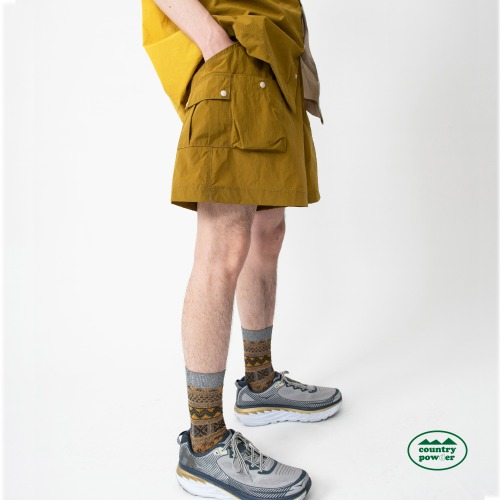 MULTI POCKET BANDING SHORTS (MUSTARD)