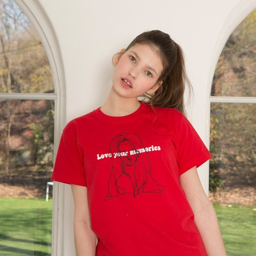 0 2 hand drawing half t-shirt - RED