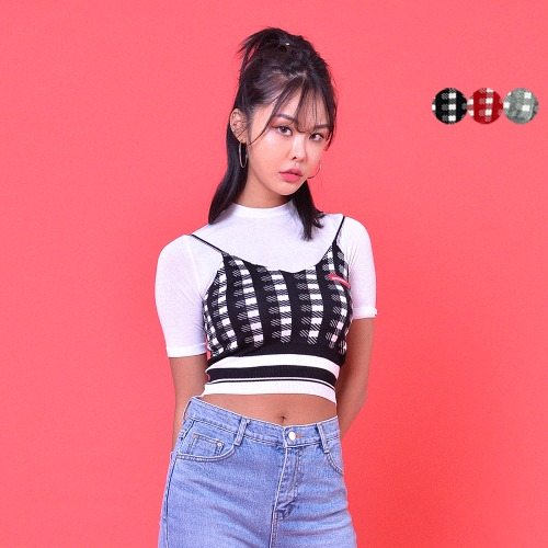 GINGHAM CHECK BUSTIER TOP(3color)