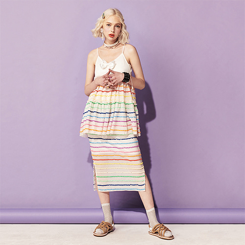 VVV WHITE RAINBOW MIDI SKIRT