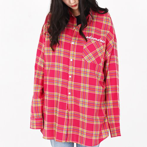 OVER-FIT LOGO CHECK SHIRTS PINK