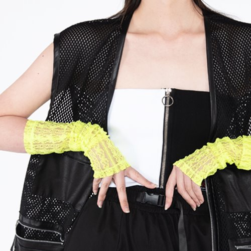 셋업이엑스이- See-through warmer - neon green