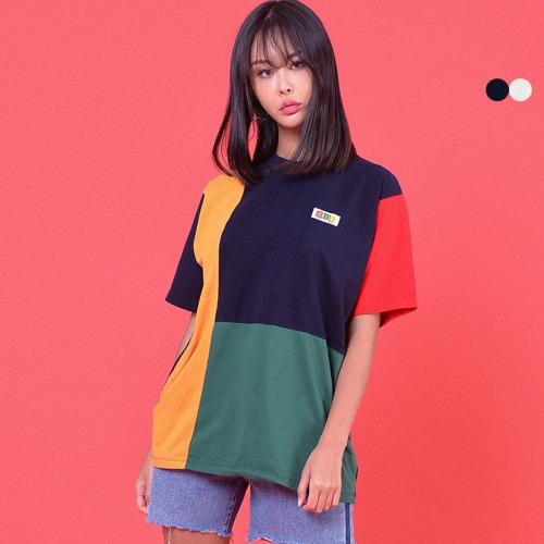 MULTI COLOR BLOCK T-SHIRT(2color)(unisex)