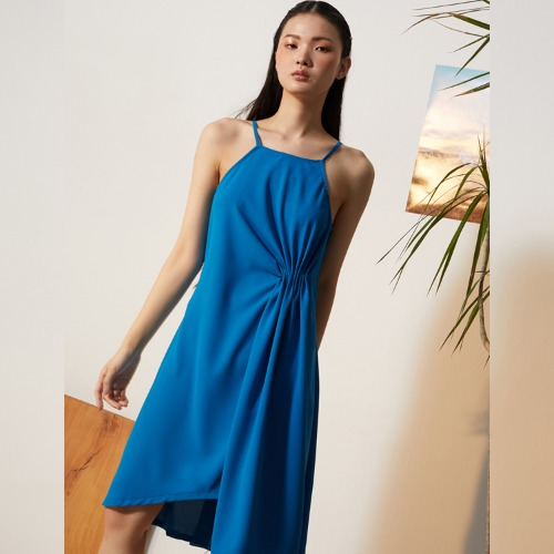 SKY BLUE SIDE DRAPE DRESS - BLUE
