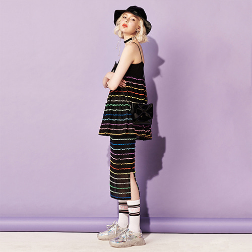 VVV BLACK RAINBOW MIDI SKIRT