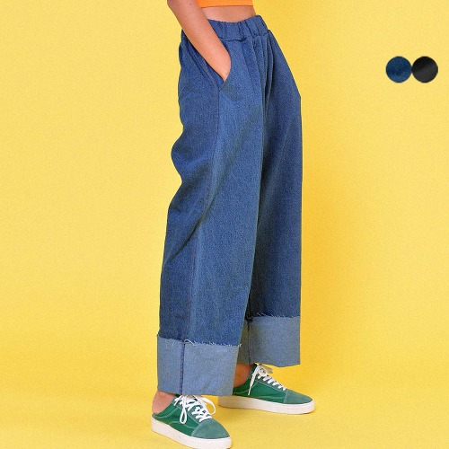 WIDE ROLL-UP DENIM BANDING PANTS(2color)(unisex)