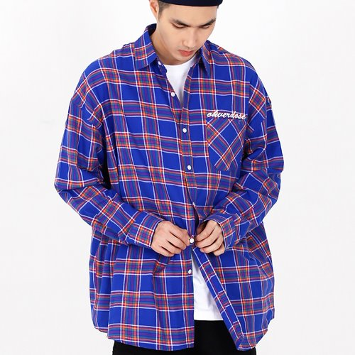 OVER-FIT LOGO CHECK SHIRTS BLUE