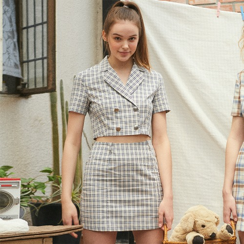 LU CHECK TWO PIECES SKIRT (NAVY)