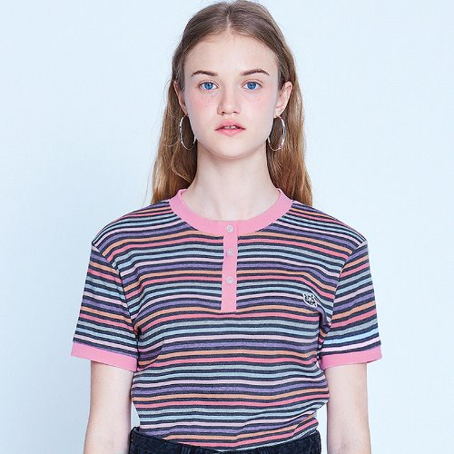 MG9S STRIPE BUTTON CROP TEE (CHARCOAL)