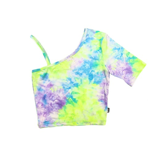 TIE-DYED HALF SLEEVELESS - NEON YELLO/PURPLE