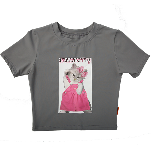 CROP TEE HELLOKITTY - GREY