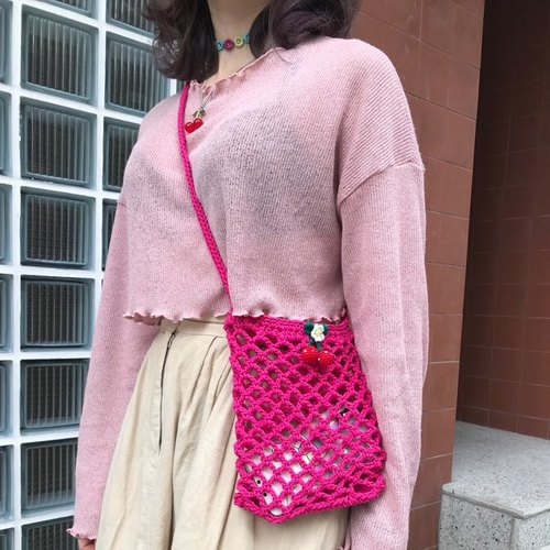 Hand made cherry bag-pink