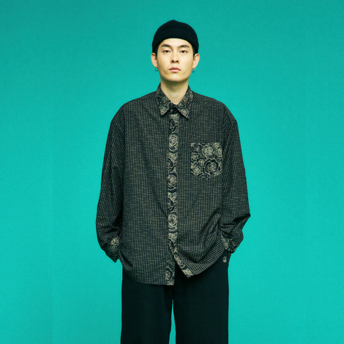 FLOWER BLOCK OVERSIZE SHIRTS (BLACK)