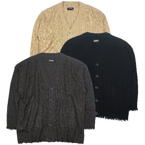 OVERSIZE DAMAGE CARDIGAN - 3COLOR