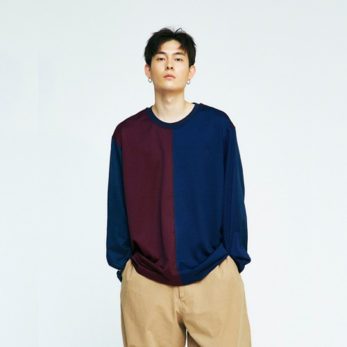 OVERSIZE COLOR BLOCK T SHIRTS (NAVY)