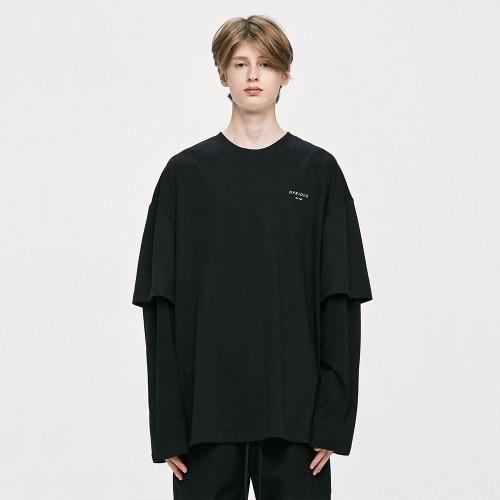 [IKON 동혁 착용] Oversized Layered T-Shirt - Black