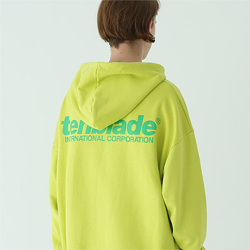 international print hoodie yellow-green