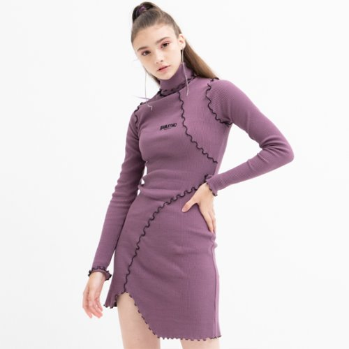 Unbalance Turtleneck Dress (PURPLE)