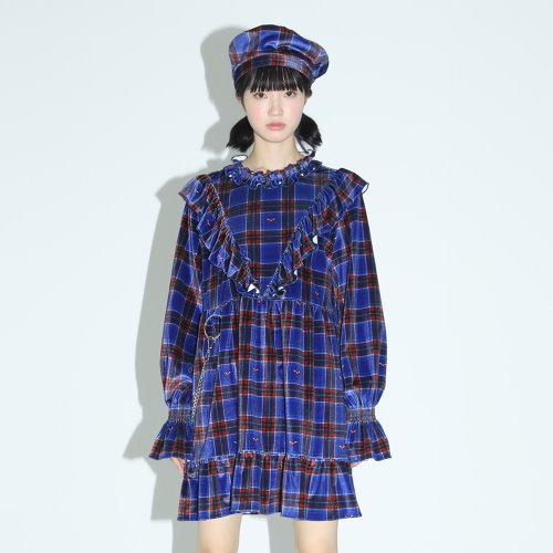 0 6 check ruffle babydoll dress - BLUE