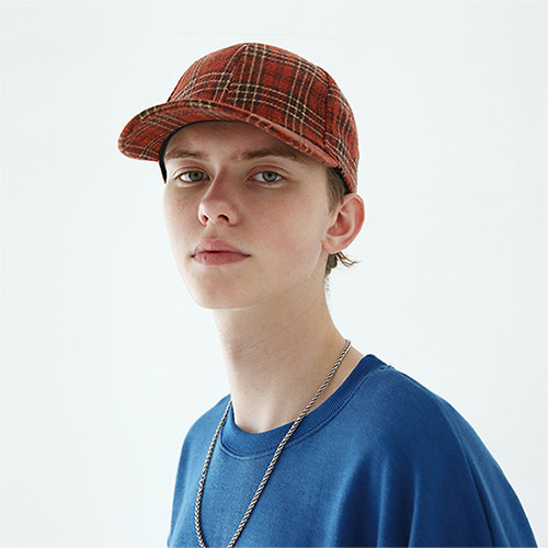 tartan check 6pl cap orange