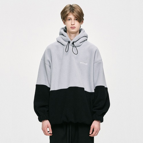 Oversized Fleece Hoodie - Grey/Black