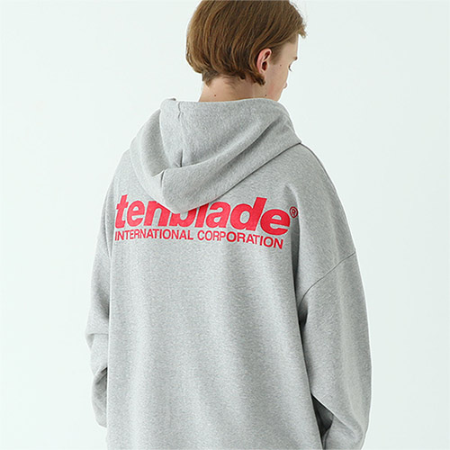 international print hoodie gray